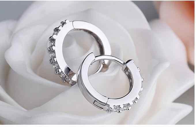 Boucles d'oreilles hypoallergéniques en argent Sterling 925 boucles d'oreilles Zircon pour femmes fille bijoux simples Brincos Joyas De Plata 925 EH056