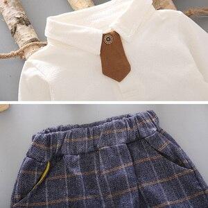 Image 5 - 3 sztuk maluch Tie ubrania wizytowe zestaw dziecko strój chłopca garnitur wiosna jesień bawełna dziecięca odzież wierzchnia dzieci odzież garnitur strój 1 4Y