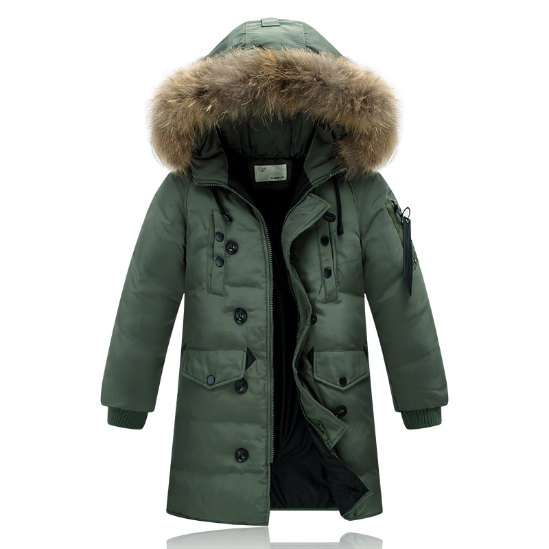 ФОТО 4-14Y Winter Children's Down Jacket Long Thick Boys Girls Winter Coat Duck Down Kids Winter Jackets for Boy Outerwear Fur Collar