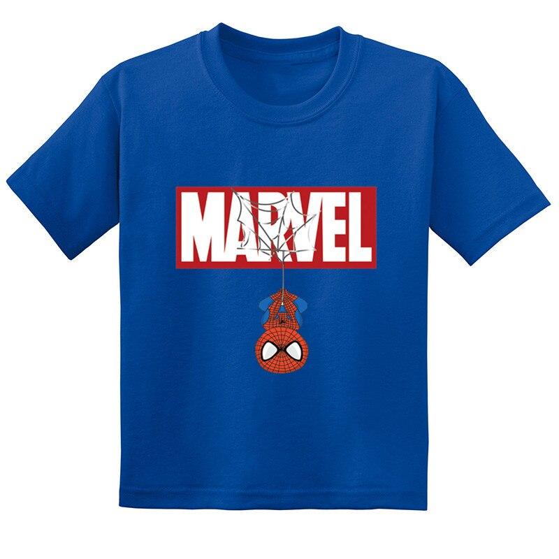 Baby Girls Summer Cotton Short Sleeve T Shirt Marvel Spiderman Cartoon Print Kids Funny T-shirt Boys Casual Clothes