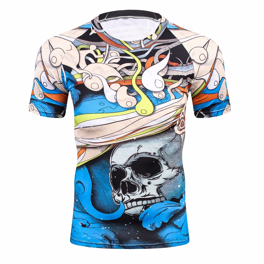 Cool skull punisher Hip hop series Men 3D printed tight T-shirt Youth fitness tshirts MMA Rushguard Short Sleeves Tee shirt