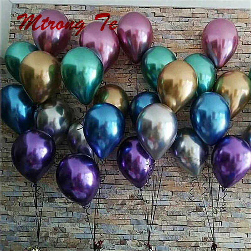 30/50/100pcs Chrome Metallic Latex Air Helium Balloons Baby Shower Wedding Birthday Party Decoration Air Globos Infatable Balon