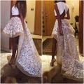 A-Line Scoop Apliques Alto Bajo 2015 de Dos Piezas Blanco Único Baile Vestidos Largos Vestidos de Baile Vestido de Noche Vestido de Noche