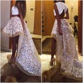 A-Line Scoop Appliques High Low 2015 Two Piece White Unique Long Prom Dresses Prom Gown Evening Dresses Evening Gown