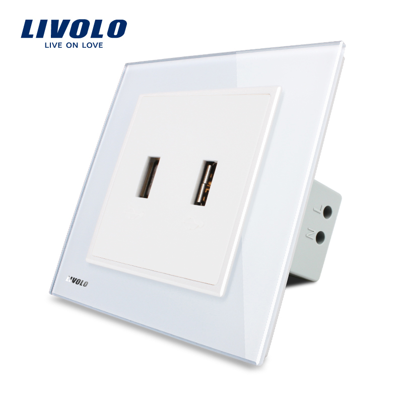 Livolo UK Standard two Gang USB Plug Socket / Wall Outlet ,Black Crystal Glass Panel, VL-W292USB-11/12/13 uk standard 1 gang socket with 2 usb chargering 3 pin white glass panel wall socket and 2100ma usb wall plug outlet