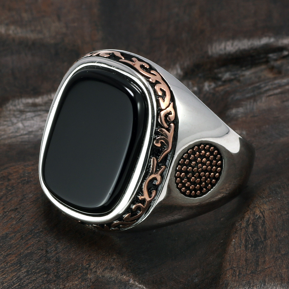 Rhodium Plated Turkish Islamic Flag Moon and Star Falcon Jewelry Sterling Silver Unisex Ring