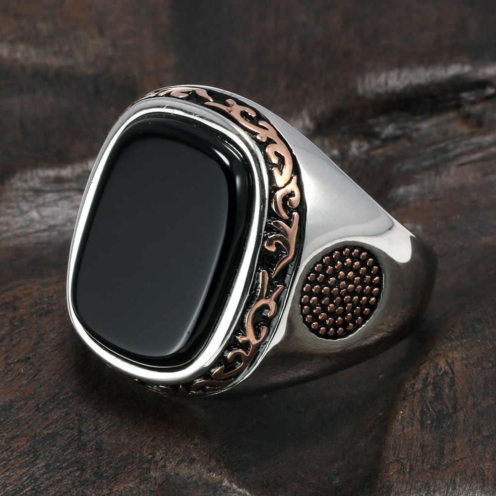 Real puro masculino anéis de prata s925 retro vintage turco anéis para homem com natural preto onyx pedras turquia jóias