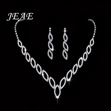 JEAE New Wedding Accessories Bridal Silver Plated Crystal Rhinestone Long Necklace Earrings Jewelry Set safrican beads