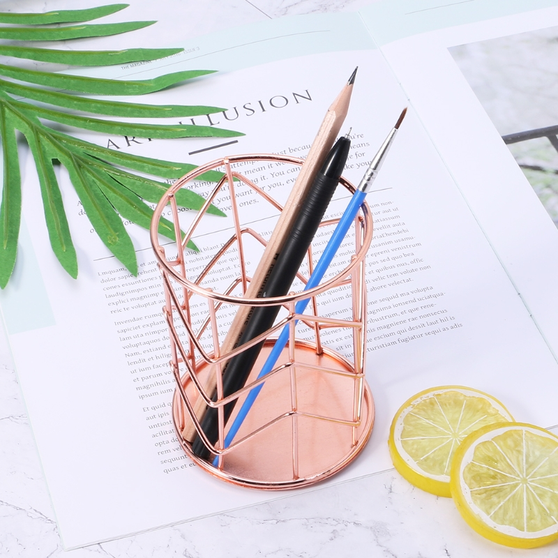 Rose Gold Pen Pencil Pot Holder Container Organizer Home Desk Stationery Decor