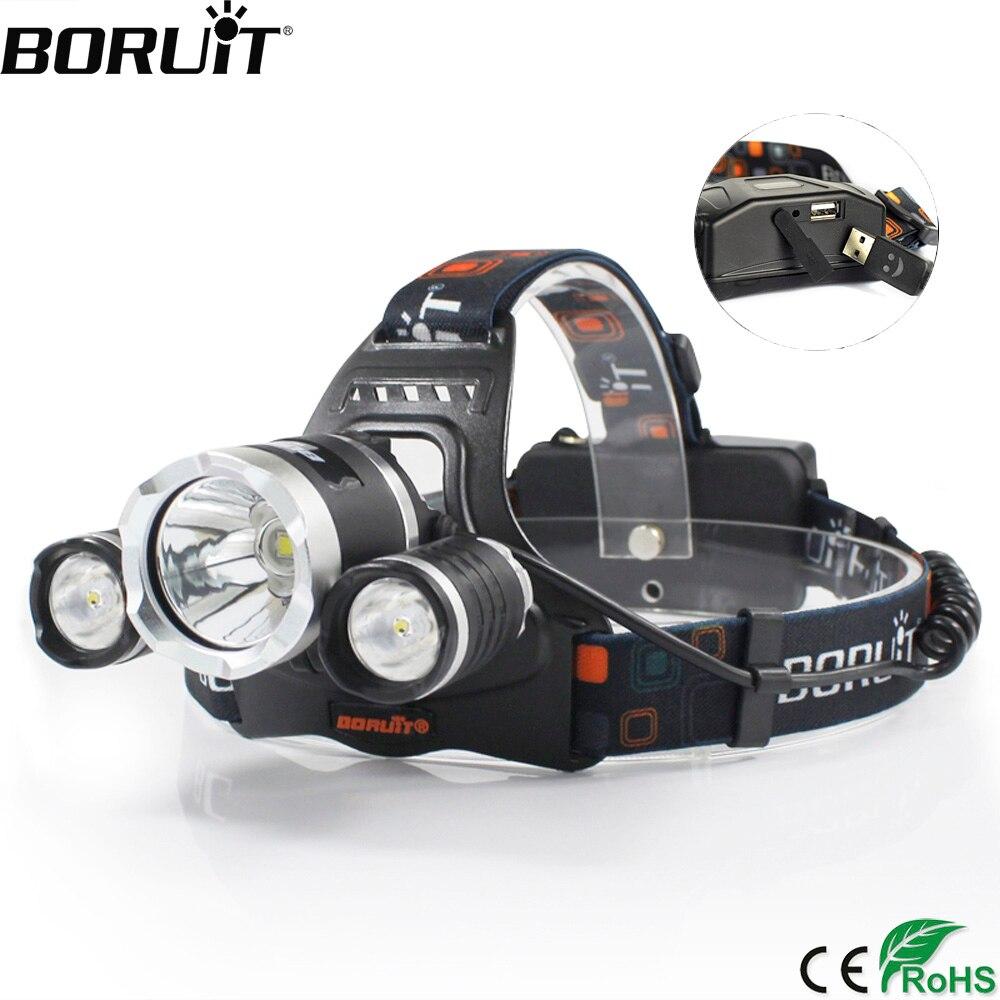 BORUiT RJ-5000 XML-T6 R2 Headlight 4-Mode Headlamp Power Bank Head Torch Hunting Camping Flashlight 18650 Battery Light