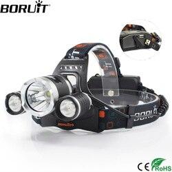 BORUiT RJ-5000 8000 لومينز T6 + 2 * R2 LED كشافات 4-Mode قوة البنك العلوي الصيد التخييم مصباح يدوي 18650 بطارية الشعلة
