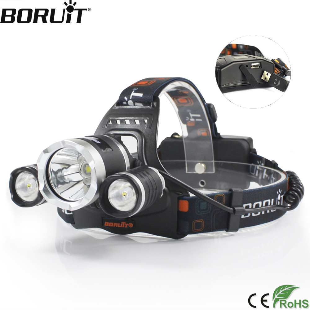 BORUiT RJ-5000 8000lumens T6+2*R2 LED Headlamp 4-Mode Power Bank Headlight Hunting Camping Flashlight 18650 Battery Torch