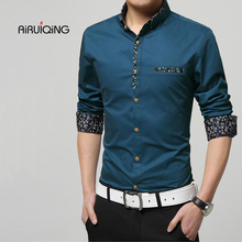 Plus size brand clothing 2017 spring Mercerized cotton men's long-sleeved shirt camisas Business casual fashion Slim shirt 5xl