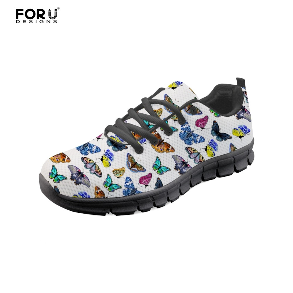 FORUDESIGNS Cute 3D Butterfly Prints Women Casual Flats Sneakers Fashion Womens Comfortable Breathable Shoes Woman Ladies Shoes