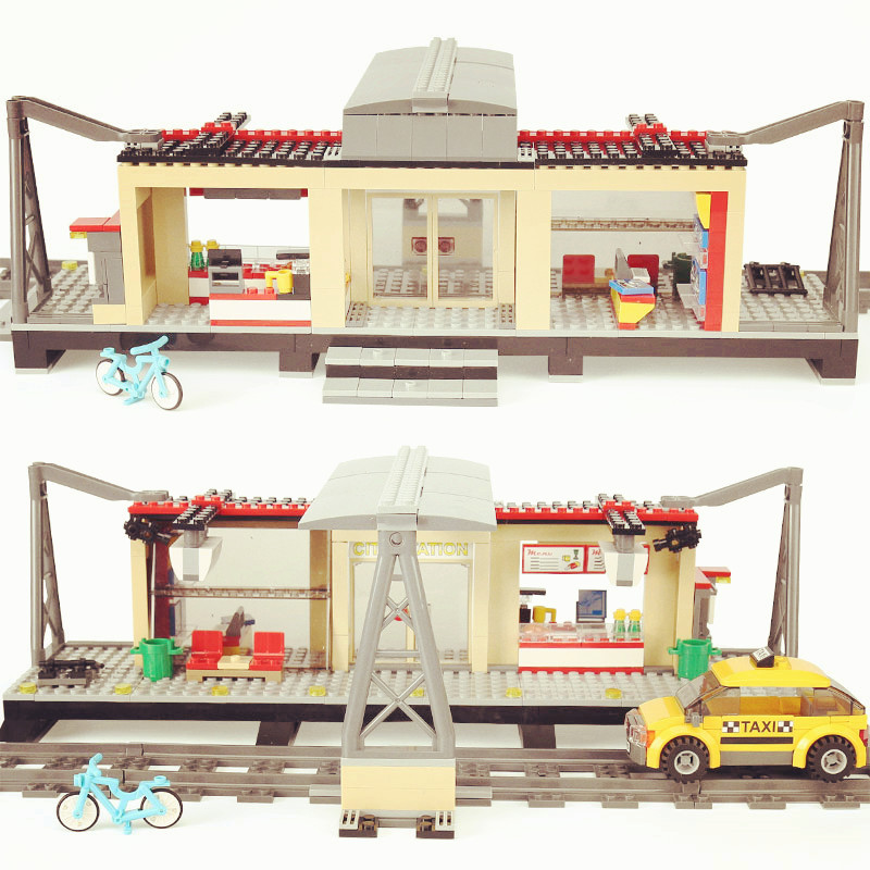 02015 Diy City Trains Series of Train Station with Rail track Legoing 60050 Brick Toys Compatible for Children gifts Taxi birthy spacerail diy physics space ball rollercoaster with powered elevator 26000mm rail
