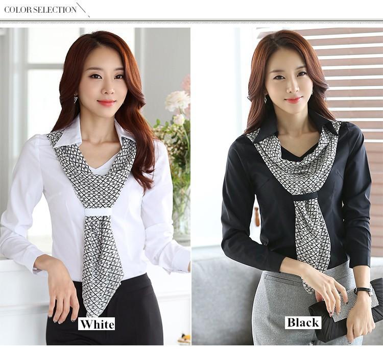 HTB1YFqfJpXXXXXgXVXXq6xXFXXXF - Women's shirt slim formal scarf collar long-sleeve blouses