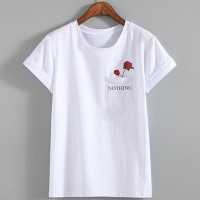 Hot Nothing Letter Print T Shirt Rose Harajuku T Shirt Women 2017 Summer Casual Short Sleeve