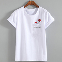 Hot Nothing Letter Print T Shirt Rose Harajuku T Shirt Women 2017 Summer Casual Short Sleeve