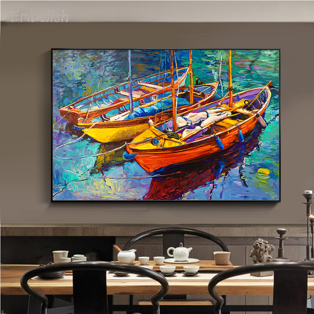 Embelish 1 Piecesc Impressionism Artworks Sunset Over Ocean Boats Sea Landscape Wall Pictures For Living Room Home Decor Posters(China)