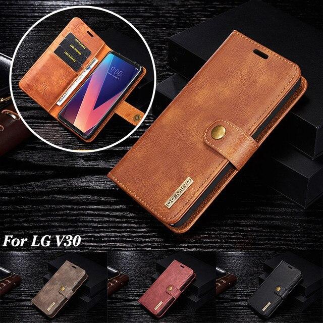 Роскошный кожаный чехол бумажник DG.MING для LG V30 V20 G6, съемный магнитный откидной Чехол с отделениями для карт для iPhone 6 6s 7 8 Plus X 5 5s SE