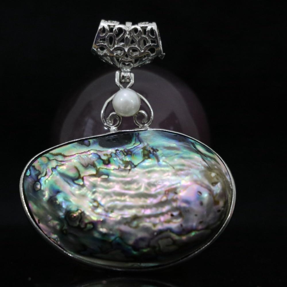 5425aa3095ec Concha de abulón grande Natural 43x50mm colgante ovalado perlas elegantes  dijes joyería B1116