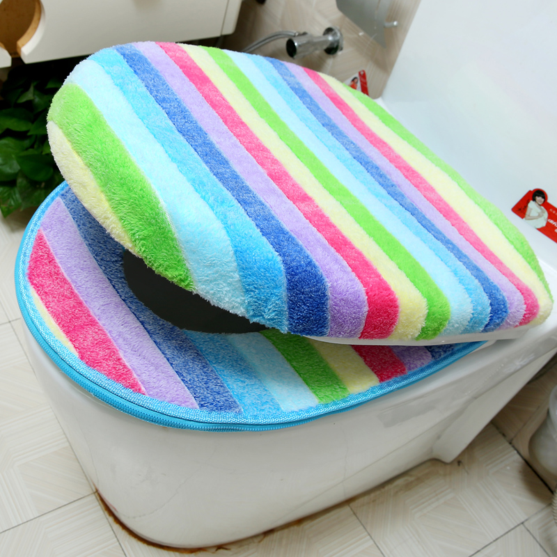 Bathroom Toilet Seat Cover Set Thicken Soft Coral Velvet