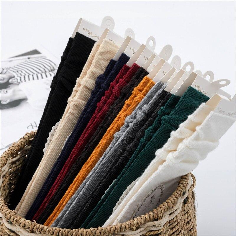 Pile Of Socks Female Japanese Autumn And Winter Female Cotton Socks Solid Color Retro Sen Short Boots Socks Long Socks