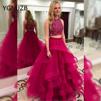 378eb84b4 Glitter Beaded Crystals Top Long Evening Dresses A Line Ruffles Organza Two  Pieces Prom Gown 2019. Glitter Cristais Frisados Top Longos Vestidos ...