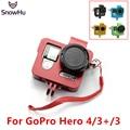 GOPRO Camera Accessories CNC Aluminum Frame with Screws Lens Cap For GoPro Hero 4 3+ Sport Action  SJ4000       GP214