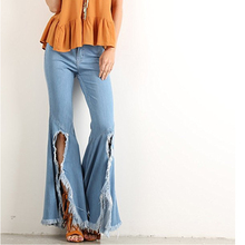 Лучший!  Ellacey Джинсы с высокой талией для женщин Плюс размер Женские джинсы Кисточка Джинсовые брюки Модны Лу�