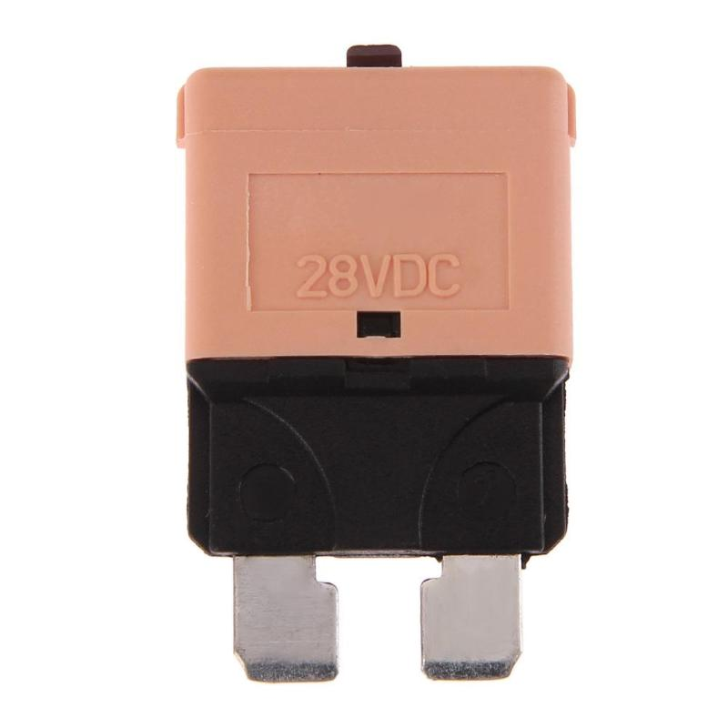 VODOOL Car Auto <font><b>DC</b></font> 28V/5A Manual Reset Circuit Breaker Blade Fuse With Button For Car Vehicle Truck Boat Circuit Protector Fuses image