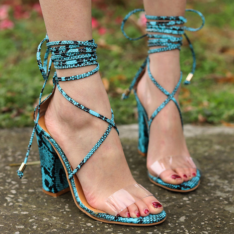 Gladiator Woman Pumps Snake High Thick Heel Lace Up Open Toe Platform Party Wedding Shoes ladies shoes Sapato Feminino 1809WGladiator Woman Pumps Snake High Thick Heel Lace Up Open Toe Platform Party Wedding Shoes ladies shoes Sapato Feminino 1809W