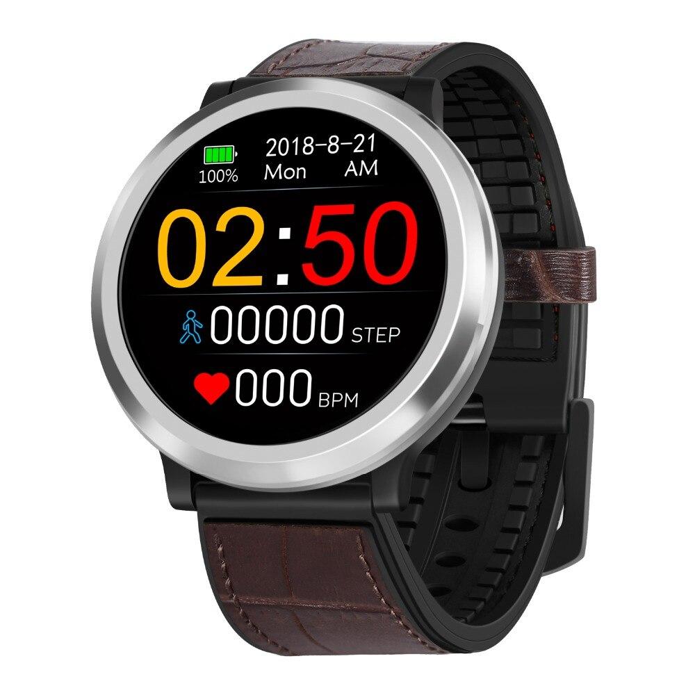 Podomètre montre-Bracelet intelligente fréquence cardiaque tensiomètre tactile bande intelligente Silicone ou cuir écran rond Bracelet de sport