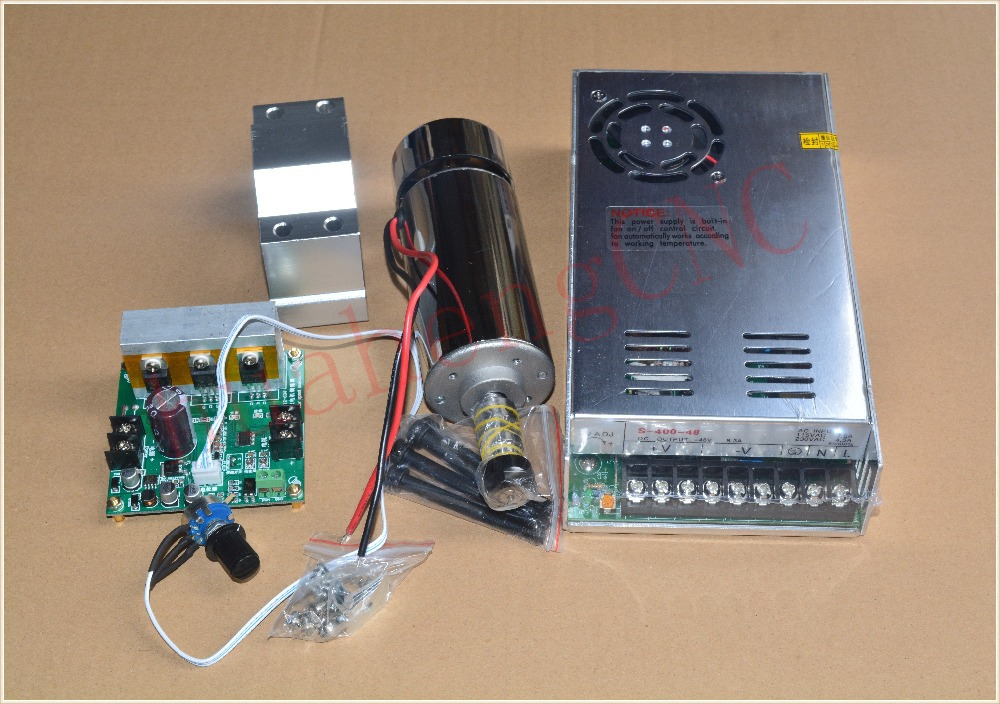 high speed spindle ER11 48V 400W brush air cooled PCB spindle motor power supply mach3 controller seat 1set dc110v 500w er11 high speed brush with air cooling spindle motor with power fixed diy engraving machine spindle