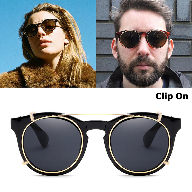abf146bc01 JackJad 2019 New Fashion Clip On SteamPunk Style Round Sunglasses Lens  Removable Brand Design Vintage Sun