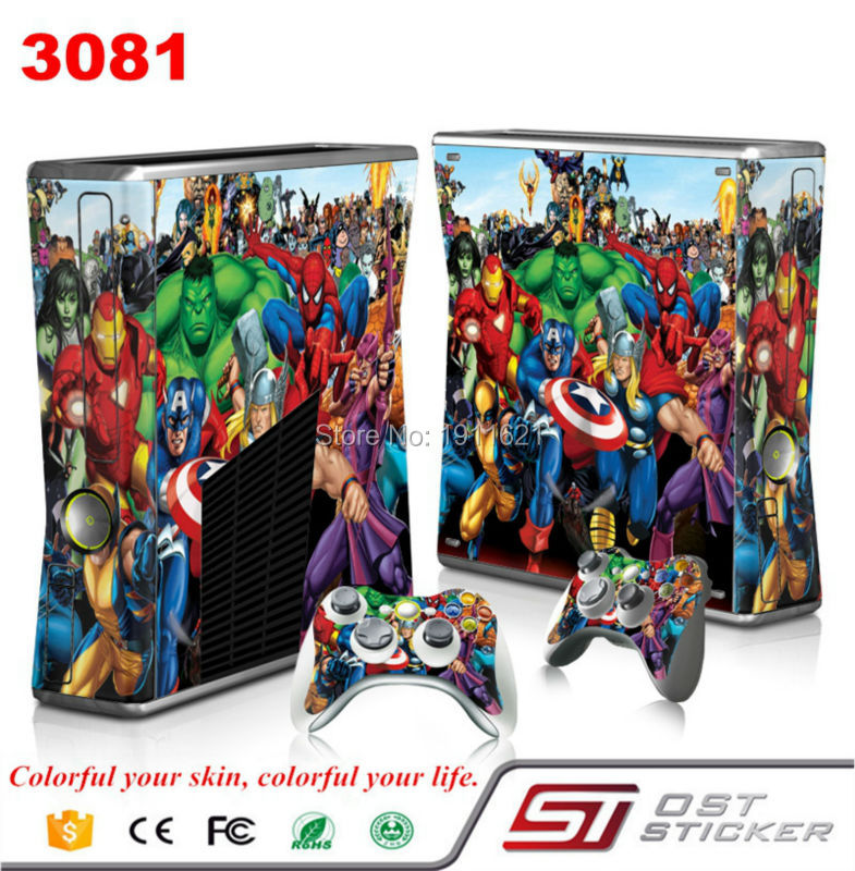 Hot Avengers Sticker Cover Wrap Protector Skin Decal For Microsoft for Xbox for 360 Slim Console Controller Durable Dustproof