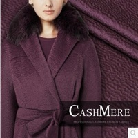 Mulberry silk water ripple cashmere fabrics wool 80%wool+15%cashmere+5%silk autumn and winter coat fabric 580grams per meter