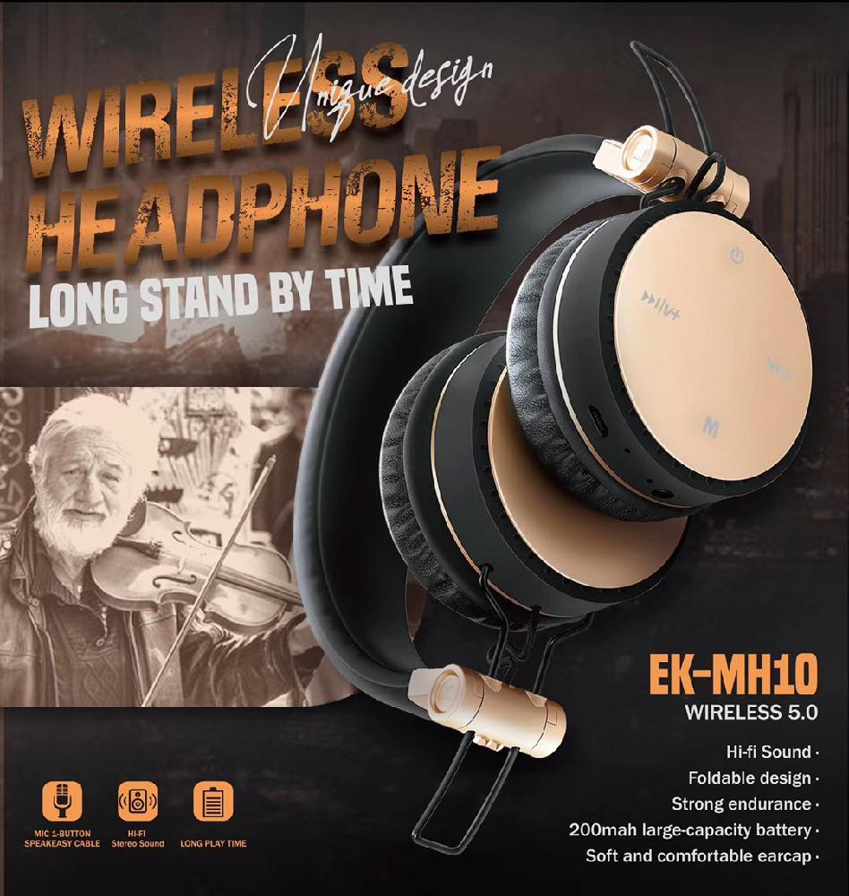 BEESCLOVER MH10 Wireless Headphone Bluetooth Headset Foldable Stereo Gaming Earphone with Microphone for iPad Mobile Phone r25