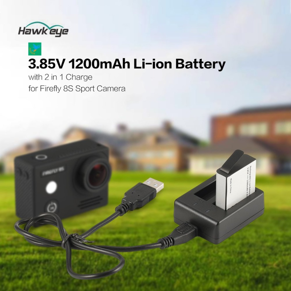 Hawkeye Firefly 8 s S009R 3,85 v 1200 mah Li-Ion Ersatz Batterie mit 2 in 1 Batterie Ladegerät Sport Action kamera Kit
