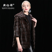 2018 Natural Real Mink Fur short Jackets Women warm cotton lining Winter thick Hooded coat female Genuine Leather Long coats