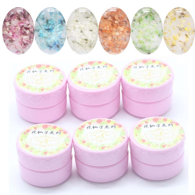 1set / 6pcs Full Dried Flowers Pattern Nail Art UV LED Soak Off Gel Polish Manicure Salon Home New Design Flower Fairy Series