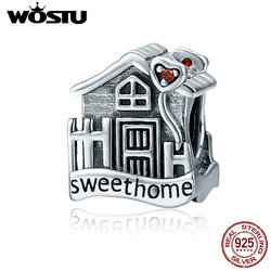 WOSTU 100% Real 925 Sterling Silver Sweet Home Loft Villa Charms fit original WST Beads Bracelets DIY Jewelry Gift CQC416