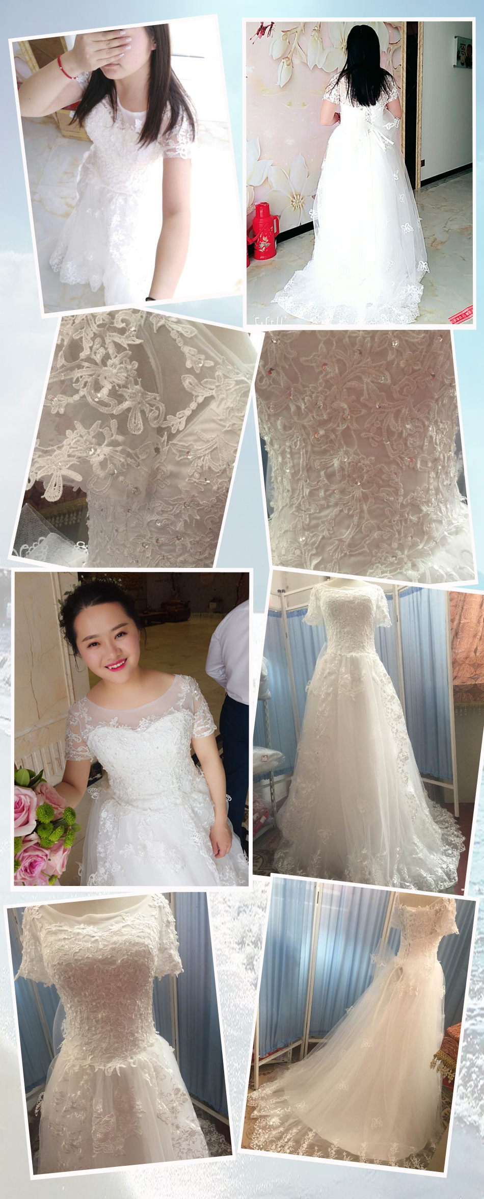 Angel Wedding Dress Marriage Bride Bridal Gown Vestido De Noiva 2017 Bud silk nail bead the small tail big bo 6700 25