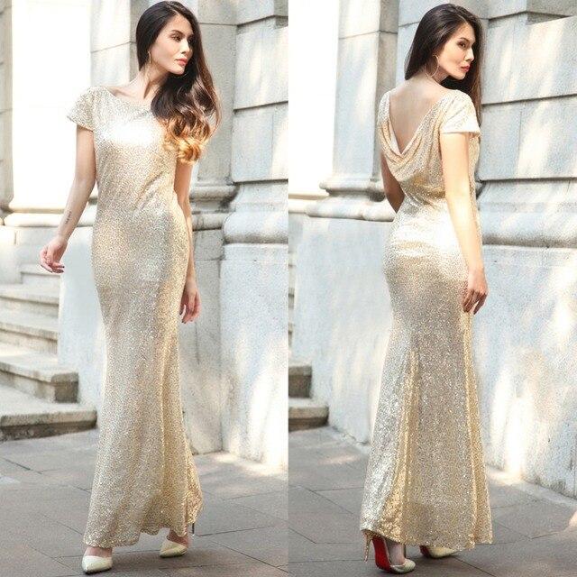 Luxury Gold Silber Lange Pailletten kleid Rosa Doppel Günstige ...