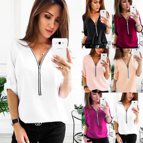 Womens V-neck Tops Loose Long Sleeve Shirt Casual Blouse Chiffon Summer Shirts Ladies Wo ...
