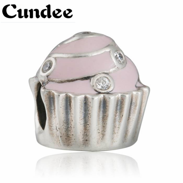 Fits Europe Charms Bracelets Sweet Cupcake Beads 925 Sterling Silver Enamel Charms Women DIY Jewelry Making Mother Gift