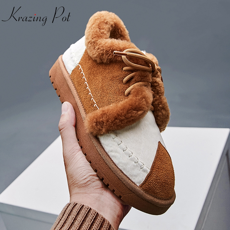 цена krazing pot cow suede horsehair sheep fur snow boots lace up waterproof sweet lady gorgeous sewing mixed color ankle boots L27 в интернет-магазинах