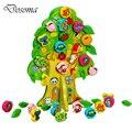 Animal bonito Dos Desenhos Animados de Frutas árvore Brinquedo Crianças Brinquedo do Bebê Na Primeira Infância Educacional De Madeira Conta Redonda Contas Lacing Tabuleiro Brinquedos