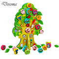 Cute Cartoon Animal Fruit tree Wooden Toy Baby Early Childhood Educational Round Bead Toy Children Beads Lacing Board Brinquedos
