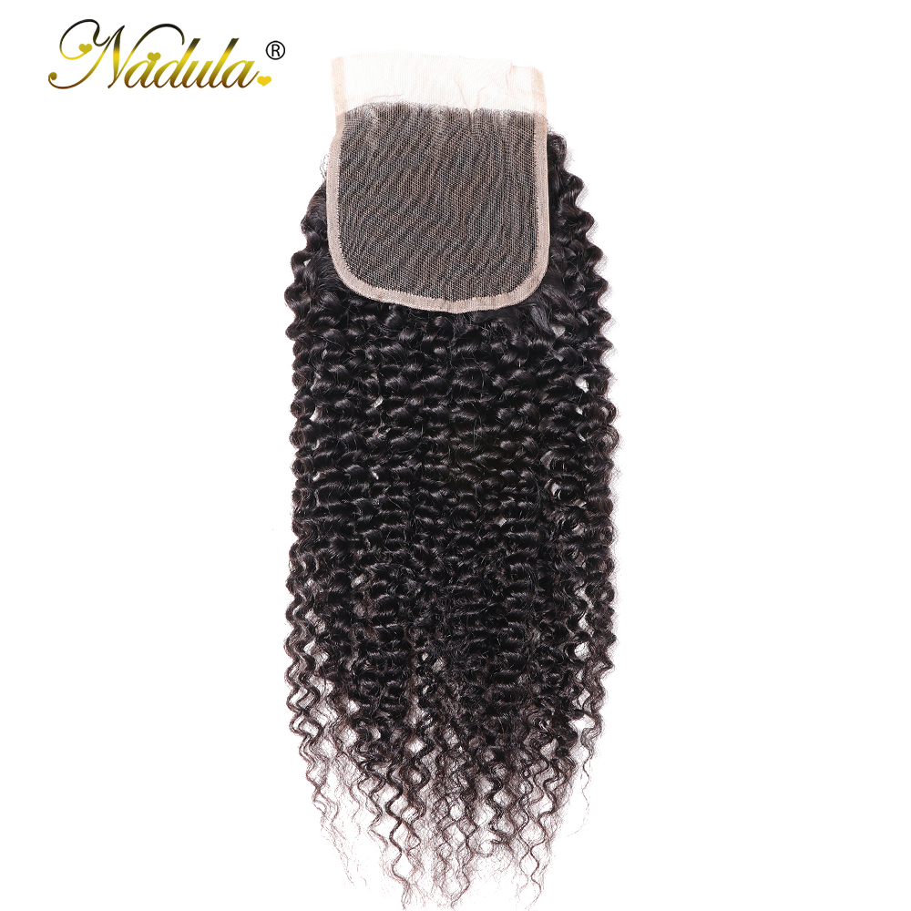 Nadula Hair Kinky Culry  Closure 10-20inch Swiss Lace Closure 4*4 Lace Closure 100% Human  Hair Natural Color 1